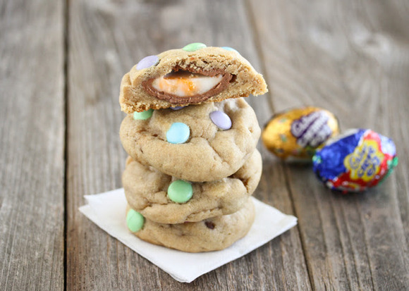 Cadbury Eggs Stuffed Chocolate Chip Cookies